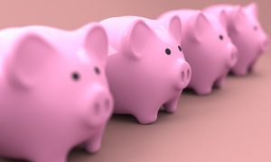 A row of piggy banks. - Something you'll have once you find reliable movers on a budget