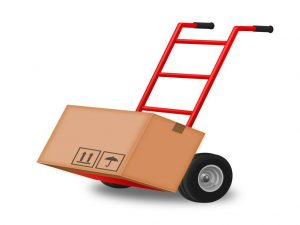 A red trolley with a moving box on it, against a white background.