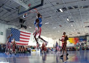 Harlem Globtrotters playing basketball