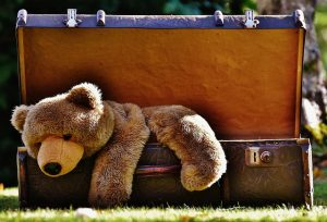 suitcase with teddy bear as a prepare children for moving abroad