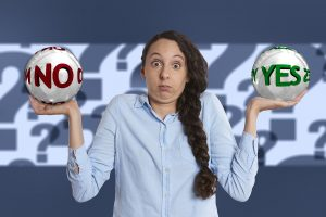 girl with yes or no for Containers vs self-storage units